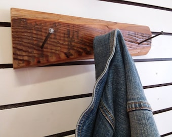 Gift for Him or Her. Rustic Nail Coat, Hat, Tie, Scarf, Hat Rack. Industrial. Repurposed Tools, Clothing Hanger. Home Decor. Free Shipping!!