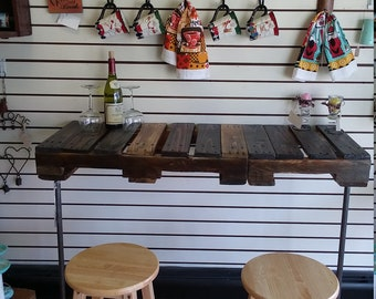 SOLD OUT! Pallet Pipe Coffee, Wine Bar. Work Station, Desk, Table. Patio, Living Room, Kitchen, Industrial Rustic Decor. Outdoor, Indoor