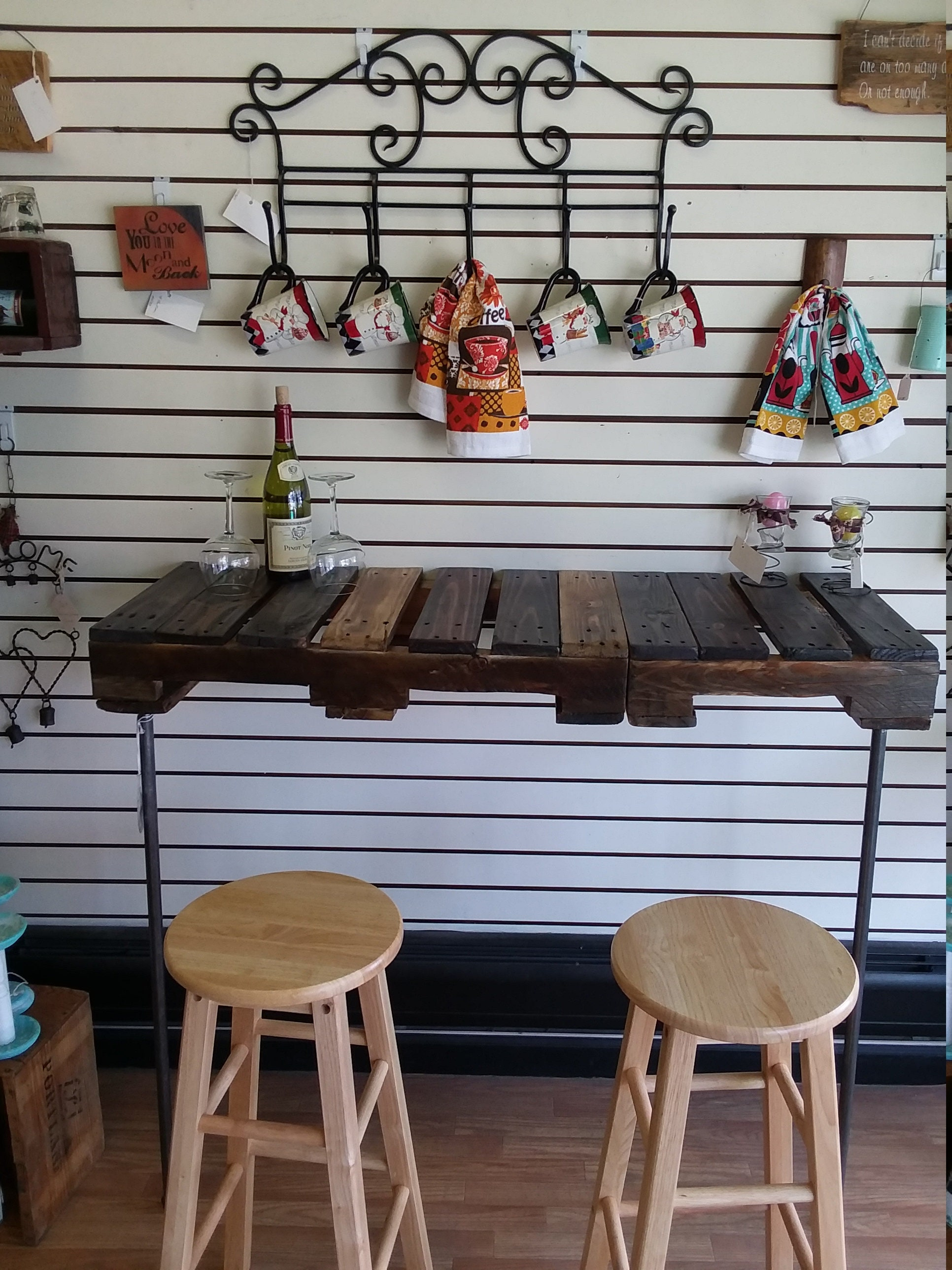 Free Shipping Pallet Pipe Coffee Wine Bar Work Station Desk