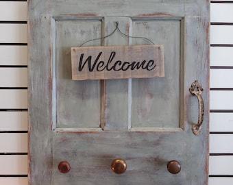 SOLD OUT!! Distressed Vintage Door Coat,Scarf, Towel Rack. Wall Decor with Antique Door Knobs, Door Handle & Hand Painted Welcome Sign