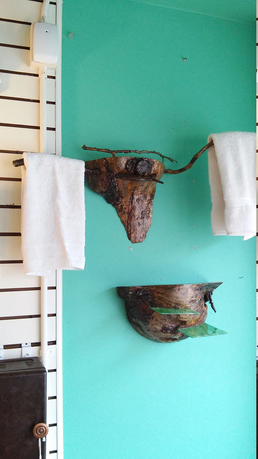 One of a Kind Bathroom Towel Rack. Wooden Tree Burl with a Shelf and ...