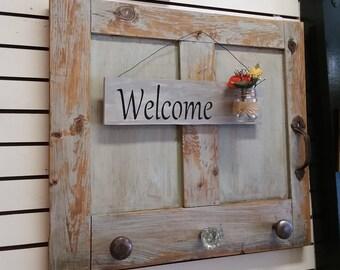 Distressed Vintage Door Coat, Scarf, Towel Rack. Antique Door Knobs, Door Handle, Hand Painted Welcome Sign & Glass Jar. Ships WorldWide