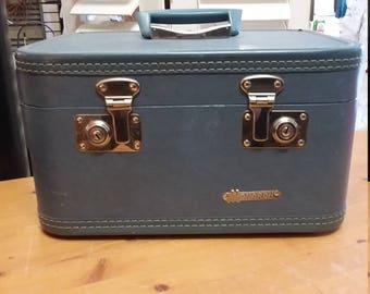 SOLD OUT!! Vintage Blue Monarch Travel, Train Suitcase. Curler Bag, Make-up, Cosmetics Case. Carry On Bag, Hard Case.