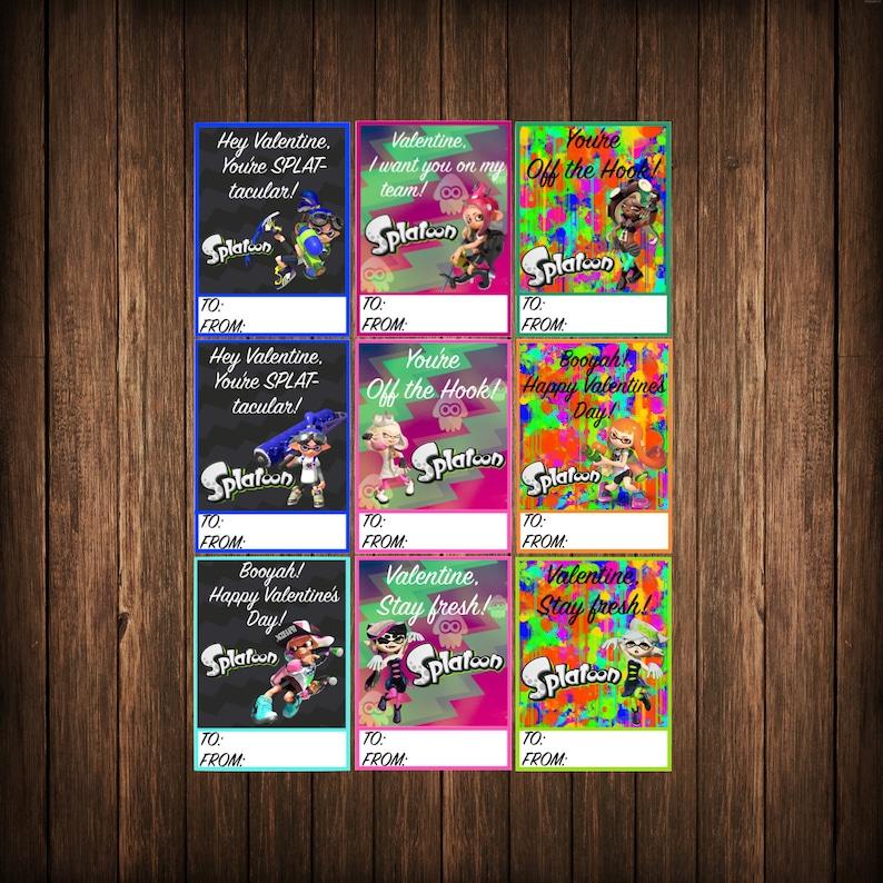 Splatoon Game Printable Valentines Day Cards Instant Download!