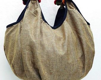 0a8dc6b7e6a Woman bag Woven Cotton Bag Purse Tote Hippie bag Hobo bag Boho bag Shoulder  bag Market bag Shopping bag Handbags Pom Pom Beige -PSB