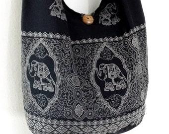 Women bag Handbags Cotton bag Elephant bag Hippie bag Hobo bag Boho bag Shoulder bag Sling bag Messenger bag Tote Crossbody bag Purse Black