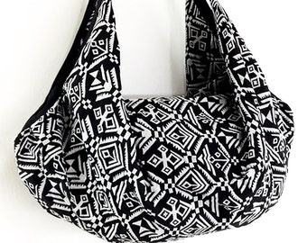 Woven Bag Backpack Hippie bag Hobo bag Boho bag Shoulder bag Tote Purse Handbags Travel Bag Crossbody Bag Purse Gypsy Bag Black&White(BWF77)