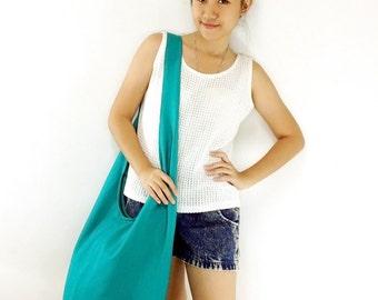 Handbags Canvas Bag Cotton bag Shoulder bag Sling bag Hobo bag Boho bag Messenger bag Tote bag Crossbody bag Purse Lt Green Teal