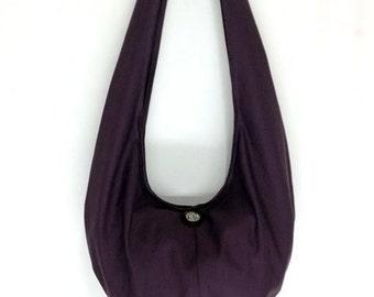 Handbags Canvas Bag Shoulder bag Sling bag Hobo bag Boho  bag Messenger bag Tote bag Crossbody Purse  Elephant button  Purple