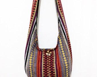 Woven Cotton Bag Hippie bag Hobo Boho bag Shoulder bag Sling bag Messenger bag Tote Crossbody bag Purse Women bag Handbags Long Strap (WF46)