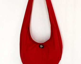 Handbags Canvas Bag Shoulder bag Sling bag Hobo bag Boho  bag Messenger bag Tote bag Crossbody Purse  Elephant button  Red