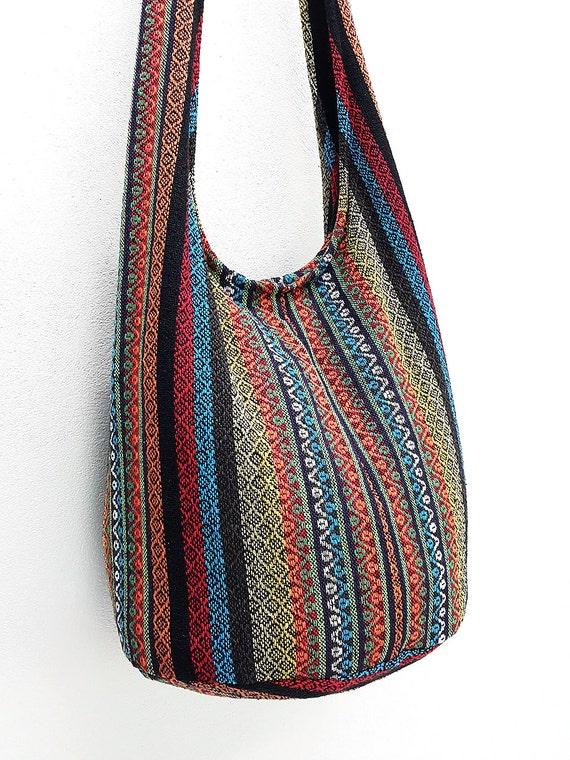 Woven Cotton Bag Hippie bag Hobo Boho bag Shoulder bag Sling  62d662e3977f6