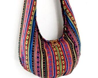 Woven Cotton Bag Hippie bag Hobo Boho bag Shoulder bag Sling bag Messenger bag Tote Crossbody bag Purse Women bag Handbags Long Strap (WF34)