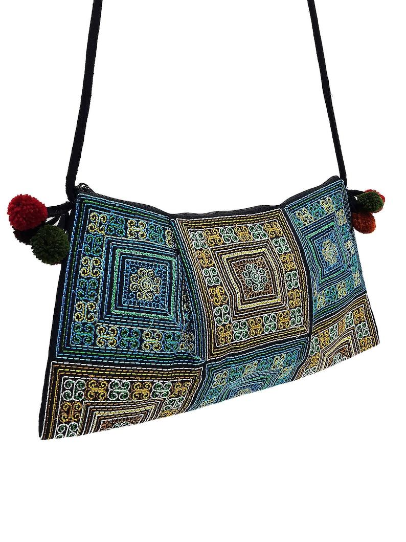 50e7975253bc Thai Hill Tribe Bag Pom Pom Hmong Thai Bag Embroidered Ethnic Purse Woven  Bag Hippie Bag Clutch Sling Bag Crossbody Bag Blue Yellow HTP31