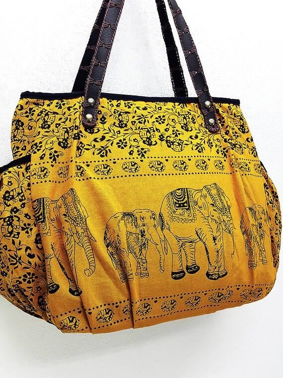 Femme sac sac sacs à main coton Thai Elephant sac Hippie Boho Hobo sac sac à bandoulière sac à couches sac tous les jours sac sac à main jaune moutarde