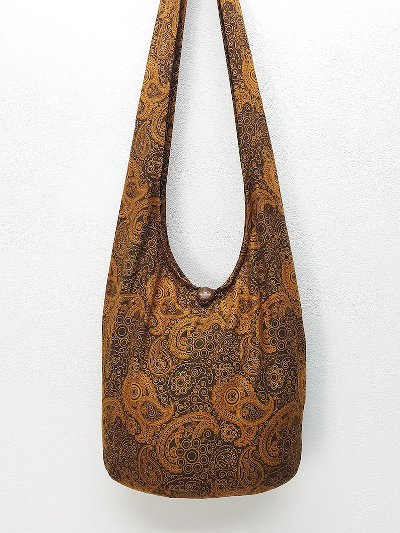 Women bag Handbags Cotton bag Hippie bag Hobo bag Boho bag Shoulder bag Sling bag Messenger Tote bag Crossbody bag Purse Paisley Brown