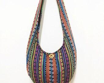 Woven Cotton Bag Hippie bag Hobo Boho bag Shoulder bag Sling bag Messenger bag Tote Crossbody bag Purse Women bag Handbags Long Strap (WF33)