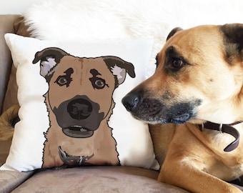 Custom Pet Illustration Pillow/Throw Pillow/Pet Pillow/ Dog Lovers gift/Pet lovers gift/Under 75 Dollars /Pet Portrait Pillow/ Pet cartoon