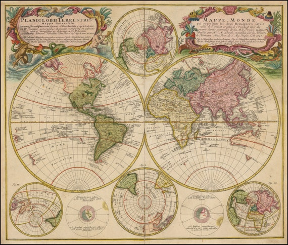 Atlas Prints World Map Print Old Maps World Globe Ancient Etsy