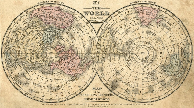 World Map Print Ancient Maps Atlas Ancient Map Old Maps Etsy