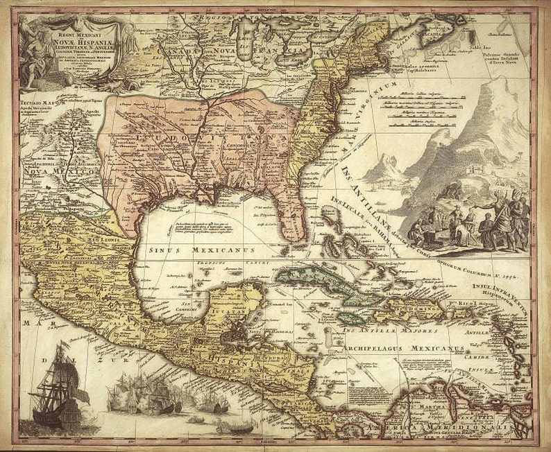 Mexico Antique World Maps Old World Map Illustration Digital Etsy