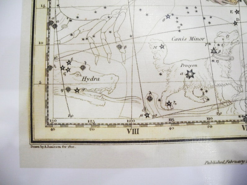 Constellation of the Gemini Galaxy Antique map of the Moon | Etsy