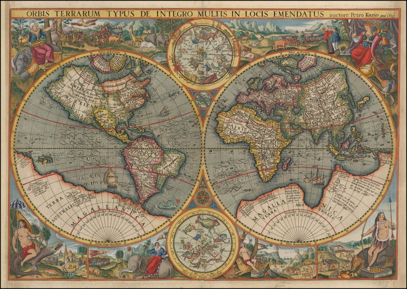 Old Maps World Globe Ancient Map Wall World Map World Etsy