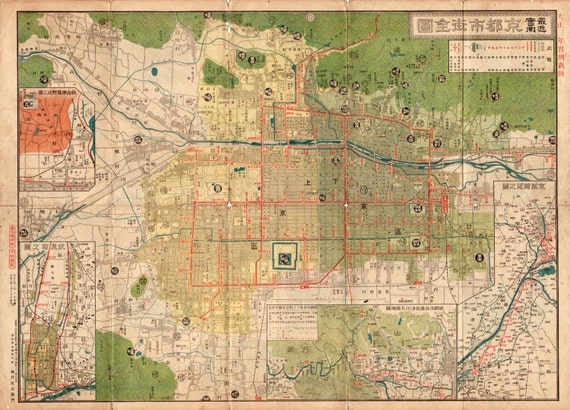 Ancient Map Of Japan.Japan Kyoto 1914 World Map Old World Maps Ancient Maps Old Etsy