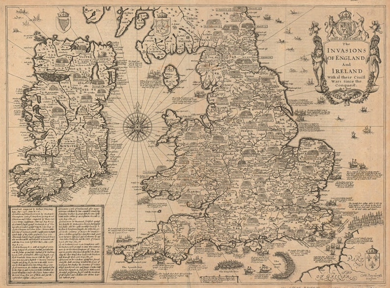 England And Ireland Old World Map Antique World Map Maps Etsy
