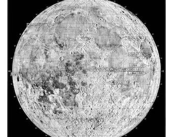 Moon, Moon map, Astronomy print, 98