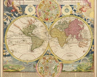 World globe ancient map old world maps ancient map poster map of the world atlas prints world map print old maps gumiabroncs Gallery