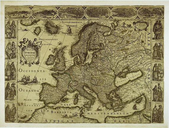 Map Of Europe Antique World Maps Ancient Maps World Map Etsy - Antique world map picture