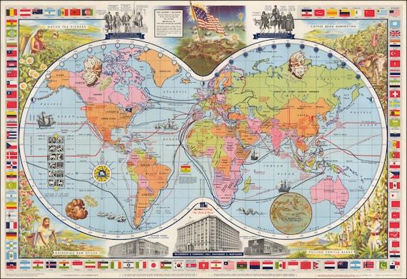 Cartes monde anciennes cartes imprimer carte du monde etsy - Carte du monde a imprimer gratuite ...