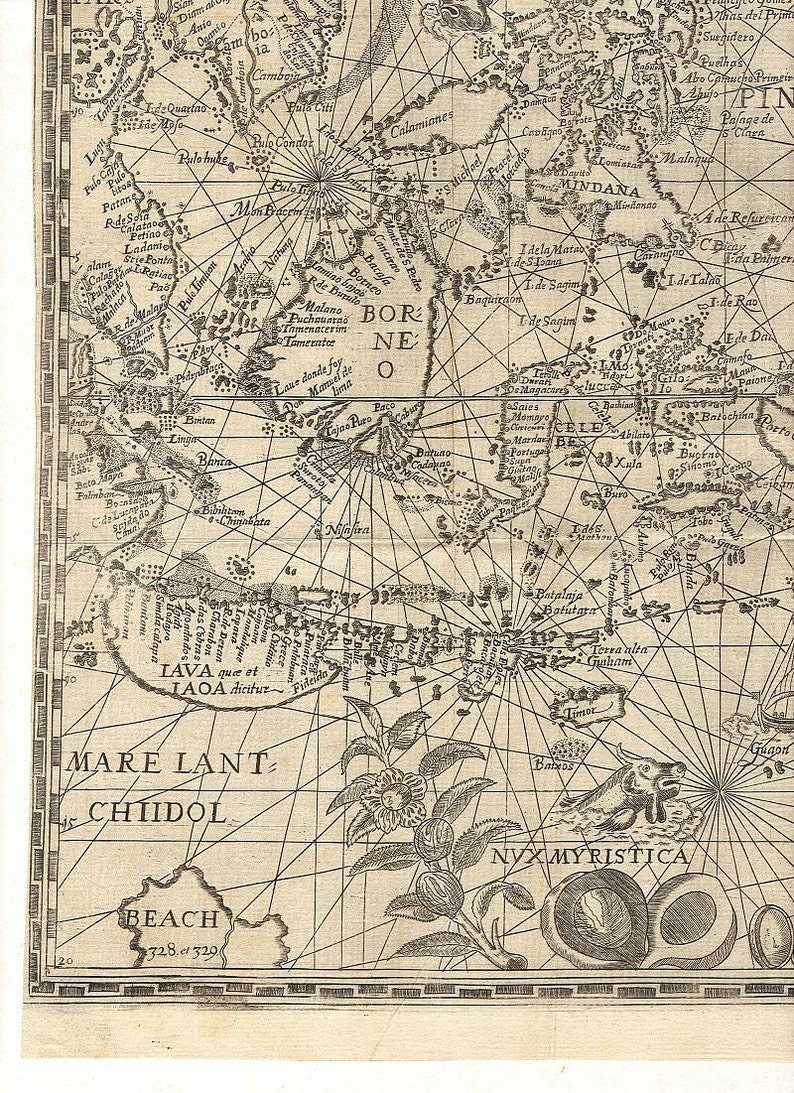 Map World Map Spice Islands Borneo Antique World Maps Old Etsy