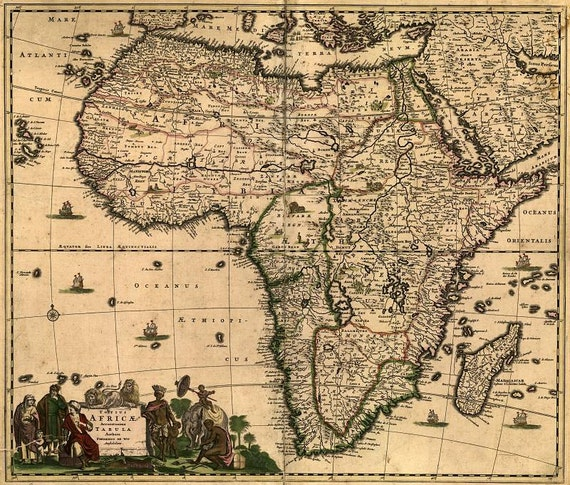 Africa Antique World Map Old World Map Ancient Maps Etsy - Antique world map picture