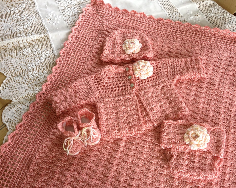 e44f5b62e Crochet Pattern Baby Layette 5 Pieces Blanket Sweater