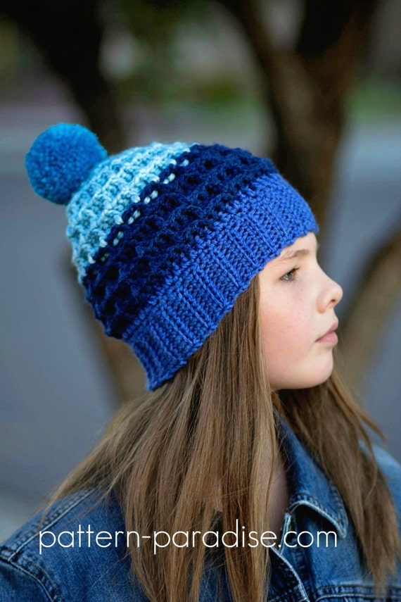 Crochet Pattern For Beanie Hat Waffle Slouchy Child And Adult Etsy