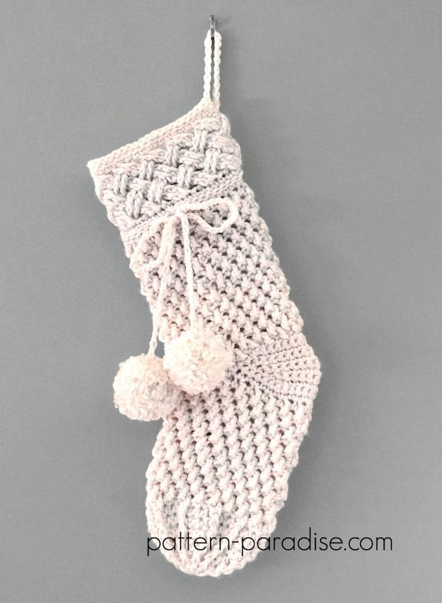 Crochet Pattern For Christmas Stocking Ivory Snow Aran Etsy
