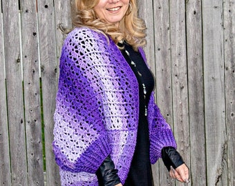 Crochet Pattern for Snuggler Cardigan Sweater Cocoon, PDF 17-338