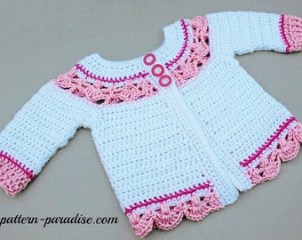 Crochet Pattern for Baby Toddler Sweater, Jasmine, PDF 12-093