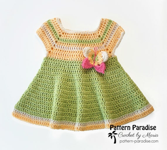 Crochet Pattern for Baby Girl Dress, Butterfly Kisses, Baby Dress Pattern, Crochet Baby Dress, Crochet Dress, Butterfly Dress