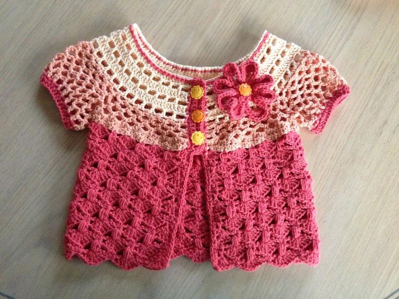 18a02a9b5 Crochet Pattern for Baby Cardigan Sweater Sunburst Cardigan