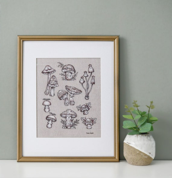 Mario champignons, 11 x 14 emmêlés impression toile de jute, Decor champignon, champignon étude, impression botanique, Decor de Geek