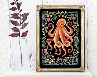 Octopus Art Print - Watercolor Painting Print - Nautical Decor - Octopus Folk Art - Octopus Gift