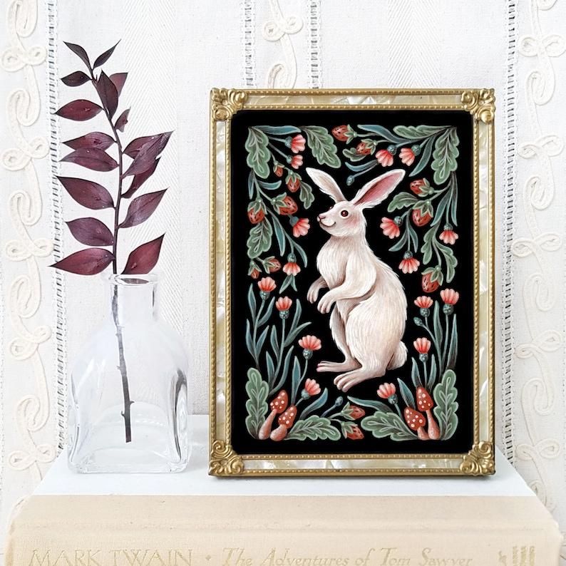 Rabbit Art Print  Watercolor Painting Print  Alice in image 0