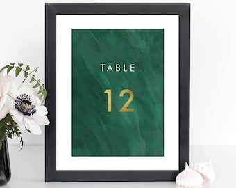 Wedding Table Numbers   Digital Download   Table Numbers 1-20   Printable Wedding Table Number   5x7 5x5 Table Number Cards   EMERALD BRUSH