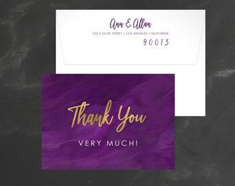 Watercolor Thank You, Thank You Card, Modern Wedding Thank You, Watercolor Thank You Card, Shower Thank You Card, Pink Thank You, 18020