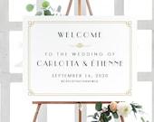 Art Deco Wedding Welcome Poster | Wedding Welcome Sign | Printable Wedding Poster | Printed Poster | Art Deco Wedding Welcome Sign, Carlotta