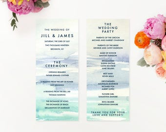 floral watercolor wedding ceremony programs custom printed etsy