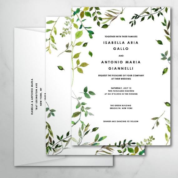 Isa Botanical Wedding Invitations Custom Wedding Leaves Etsy